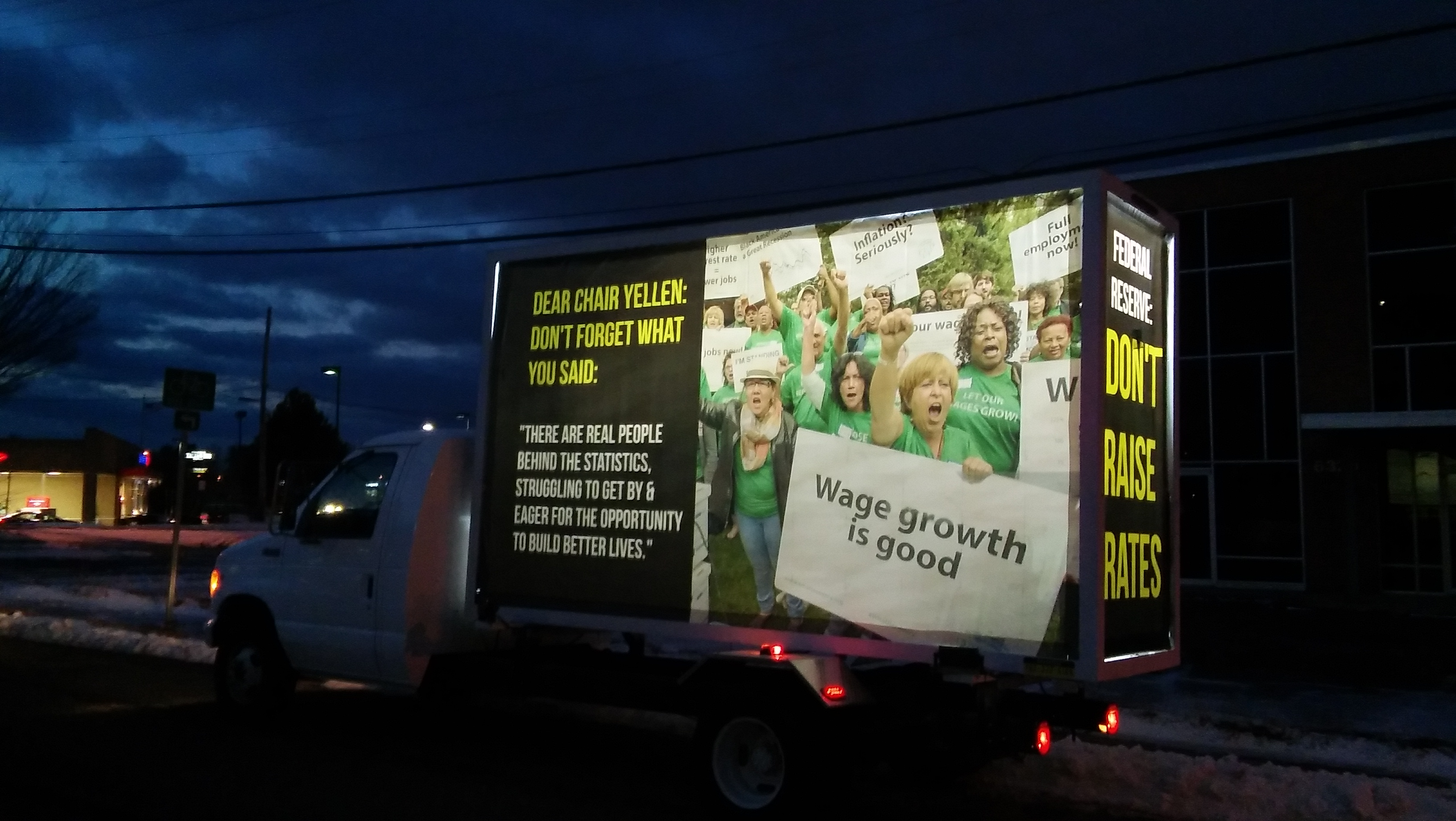 March 2017 jumbo 3 sided mobile billboard truck with message for the federal reserve in washington d c regarding interest rate hikes