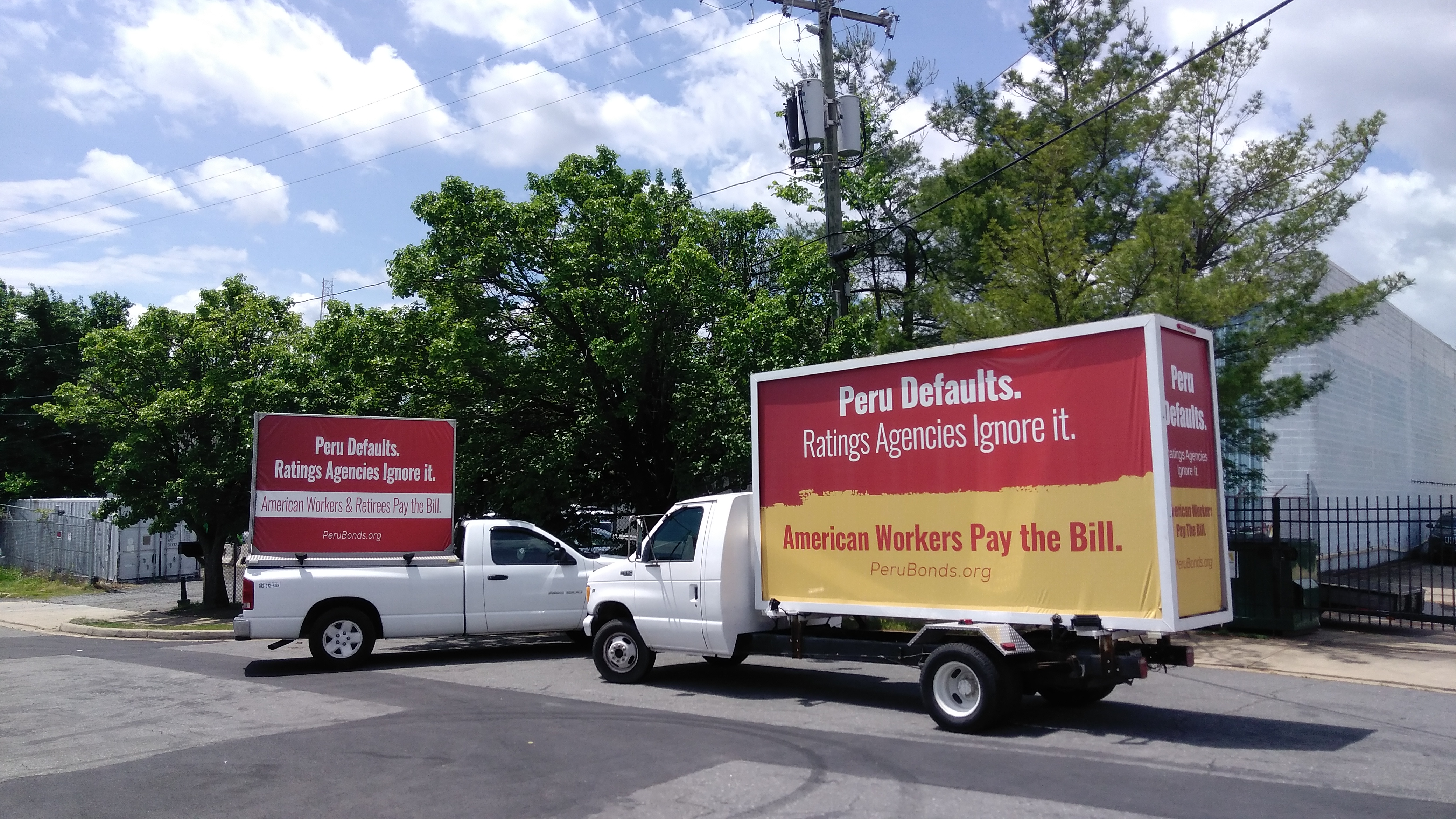MAY 2017 Two Of Our Mobile Billboard Trucks Getting Ready For A Campaign In Downtown Washington DC